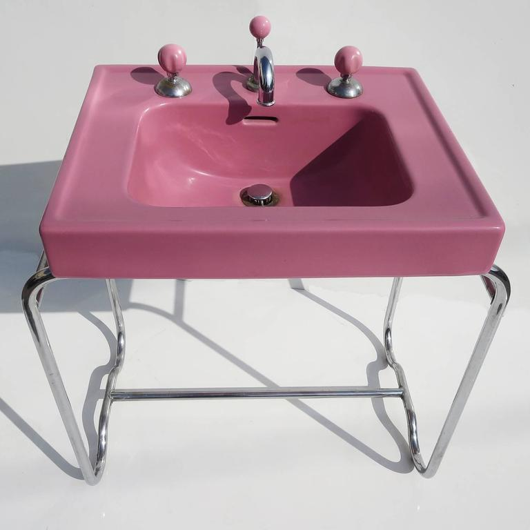 Art Deco Porcelain and Chrome Sink by George Sakier, 1933 2