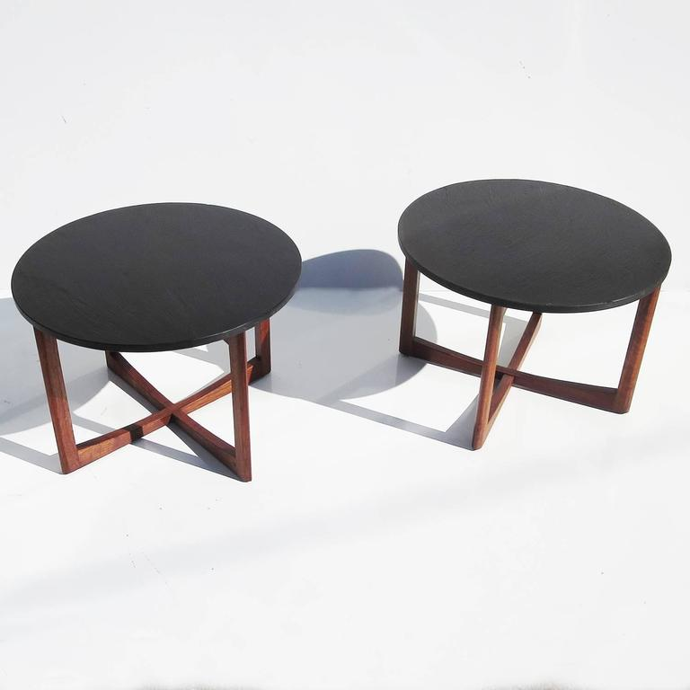 Pair of Mid-Century Side Tables in Walnut and Slate 2