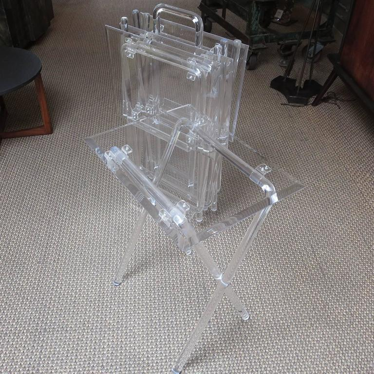 Mid-Century Lucite Folding Tables, Set of Four 2