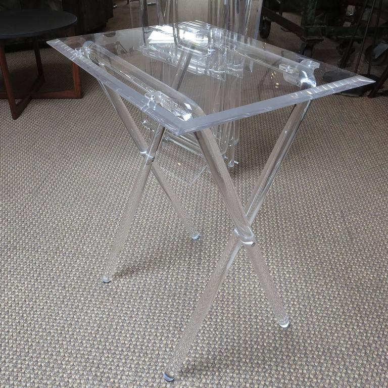 Mid-Century Lucite Folding Tables, Set of Four 3