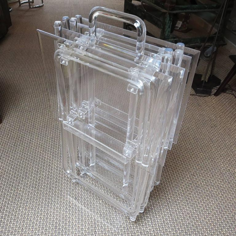 Mid-Century Lucite Folding Tables, Set of Four 5