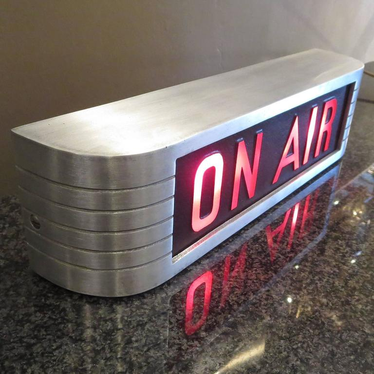 """When radio and television stations were creating live programs, they had to have a signal to let one know that they were rolling, and not to interrupt. The finest """"on air"""" warning lights were made by RCA Victor from the 1930s. The body is cast and"""
