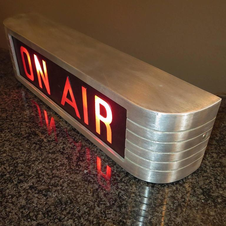 """Art Deco RCA Victor """"On Air"""" Lighted Recording Sign For Sale"""