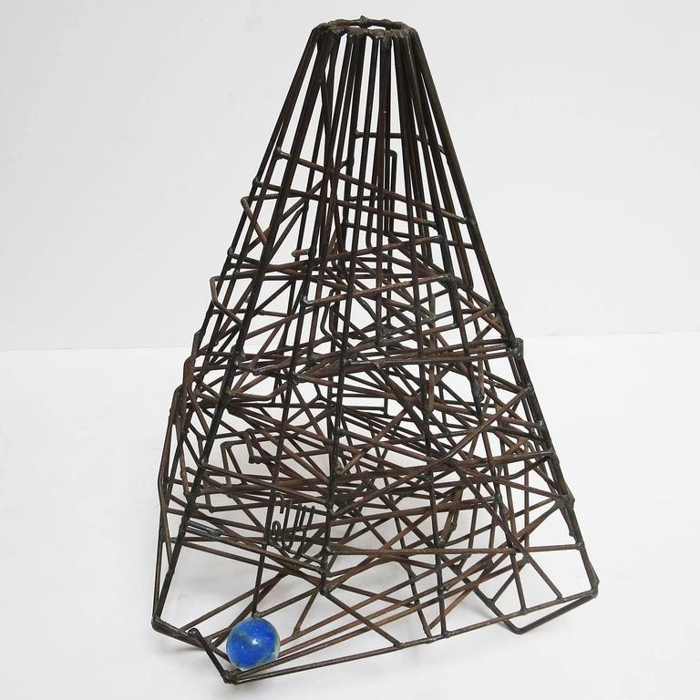 "Pair of 1960s Welded Wire ""Maze"" Sculptures by Guy Pullen 2"