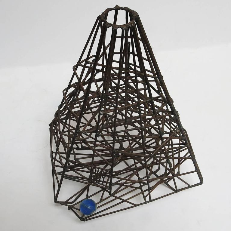 """Folk Art Pair of 1960s Welded Wire """"Maze"""" Sculptures by Guy Pullen For Sale"""
