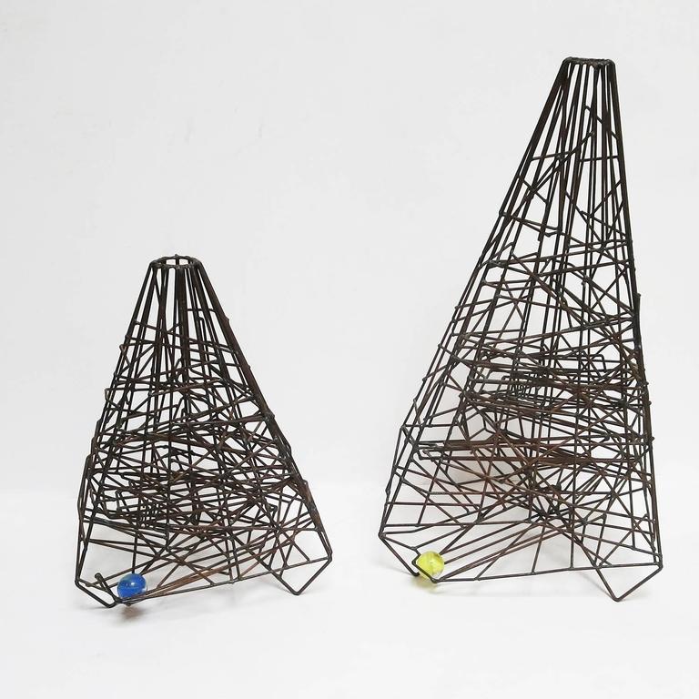 "Pair of 1960s Welded Wire ""Maze"" Sculptures by Guy Pullen 8"
