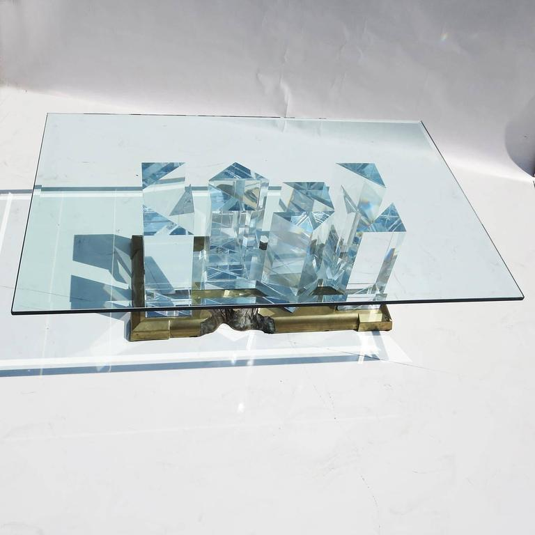 "Jeffry Bigelow Signed ""Towers"" Lucite and Brass Coffee Table, 1989 2"