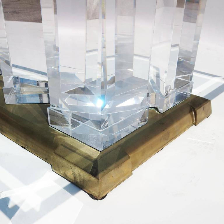 "Jeffry Bigelow Signed ""Towers"" Lucite and Brass Coffee Table, 1989 6"