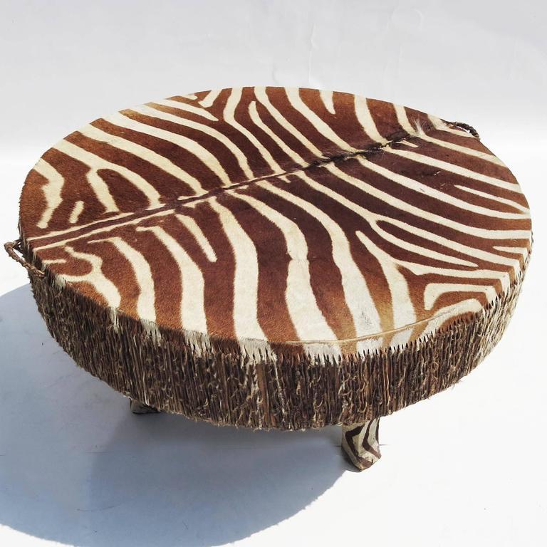African Zebra Hide Drum Coffee or Side Table 2