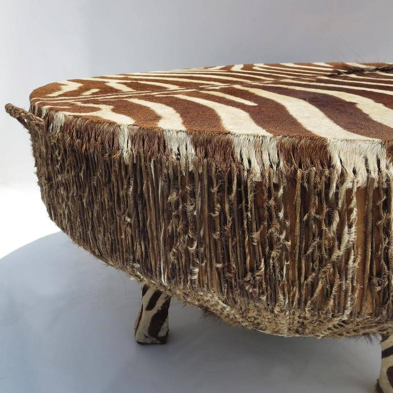 Awesome African Zebra Hide Drum Coffee Or Side Table 3