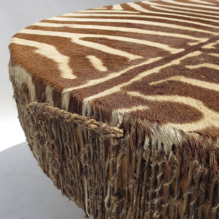 African Zebra Hide Drum Coffee or Side Table 4