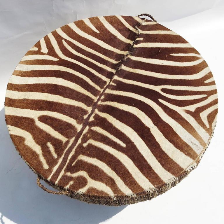 African Zebra Hide Drum Coffee or Side Table 5