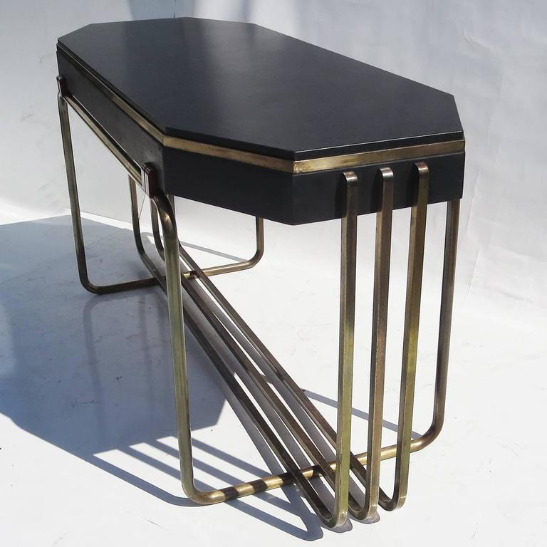 Art Deco Console Table in Bronze and Granite 2