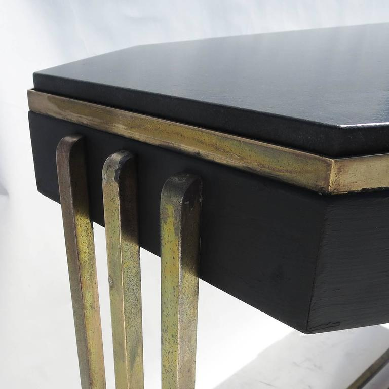 Art Deco Console Table in Bronze and Granite 8