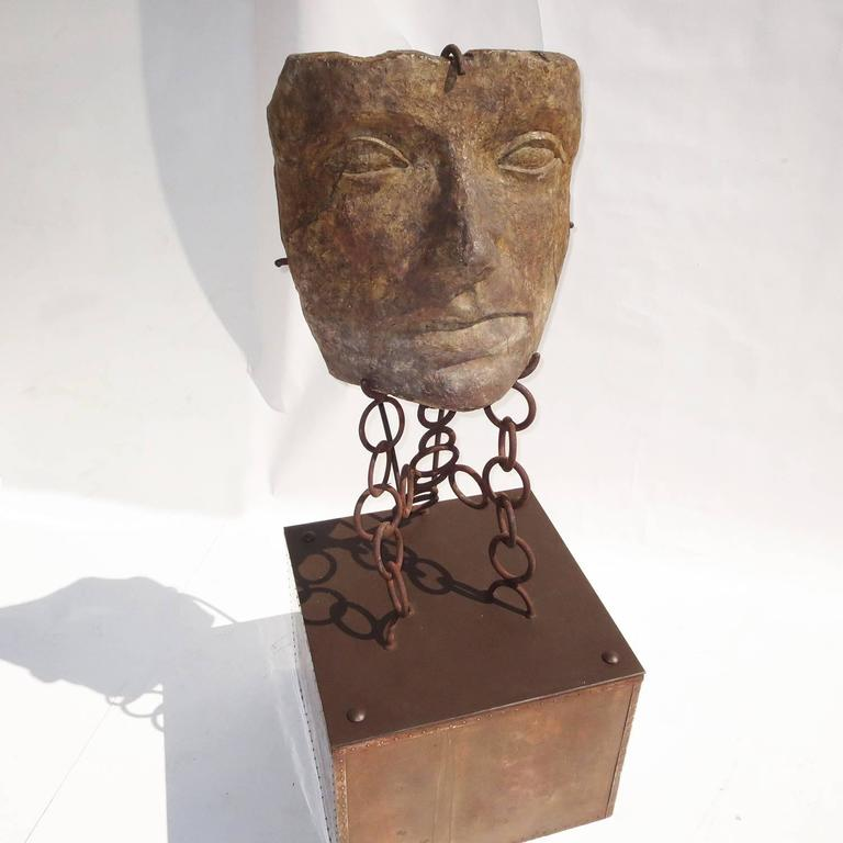 Brutalist Monumental Facial Profile Sculpture on Elaborate Steel and Copper Base For Sale