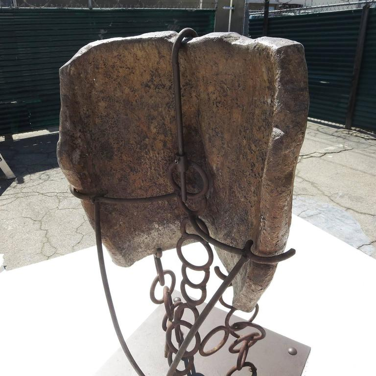 Fired Monumental Facial Profile Sculpture on Elaborate Steel and Copper Base For Sale