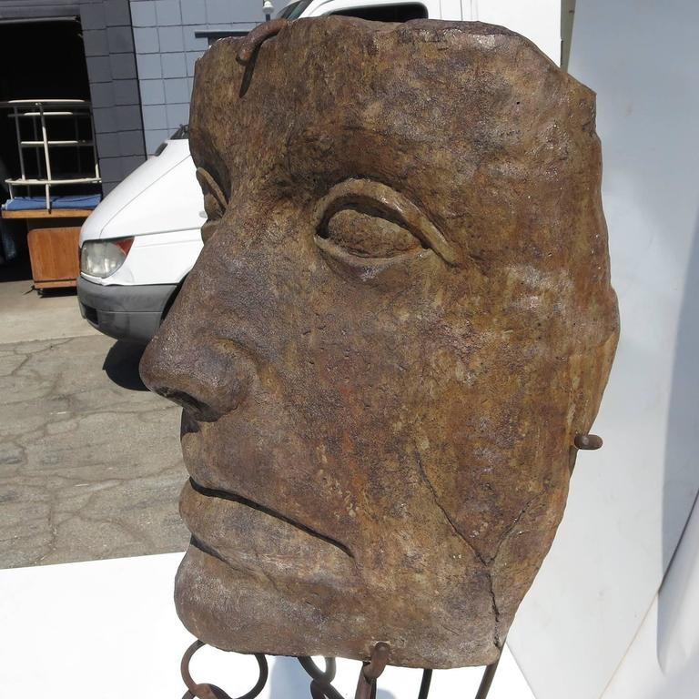 Monumental Facial Profile Sculpture on Elaborate Steel and Copper Base In Good Condition For Sale In Los Angeles, CA
