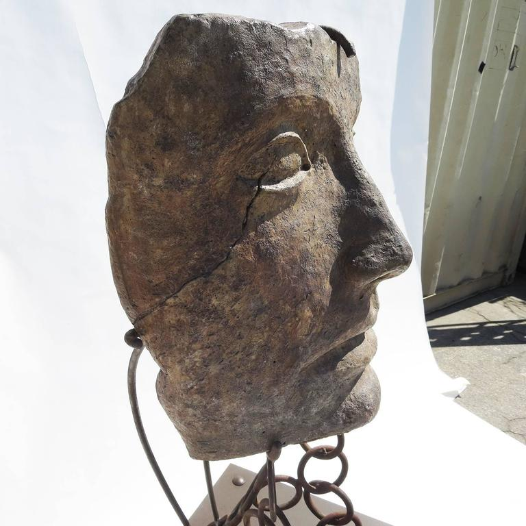 Mid-20th Century Monumental Facial Profile Sculpture on Elaborate Steel and Copper Base For Sale