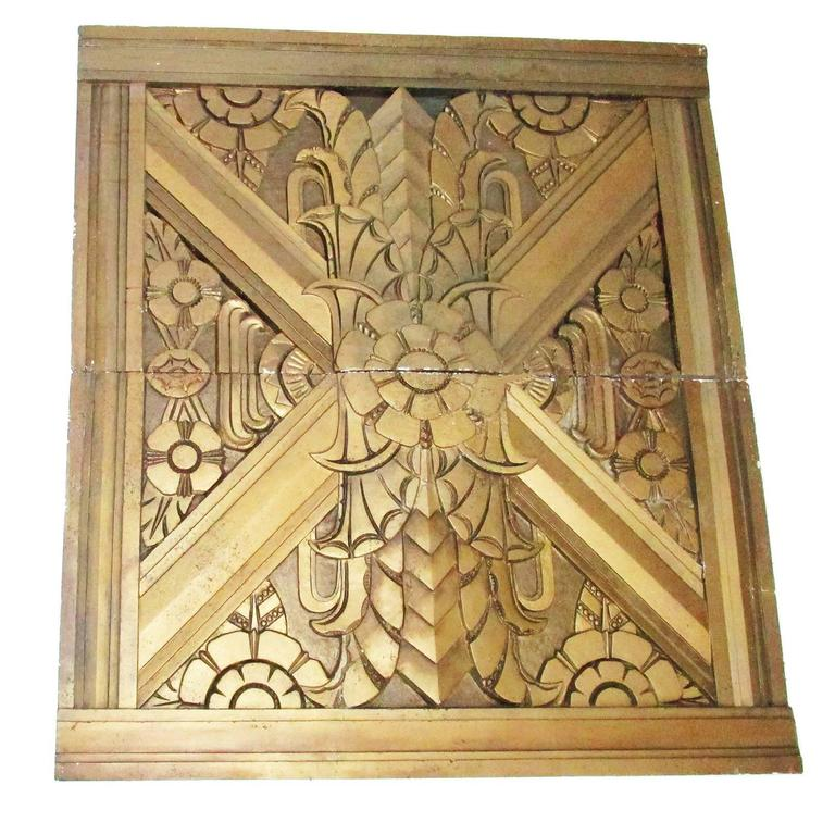 Art Deco Architectural Gilded Aggregate Panels For Sale