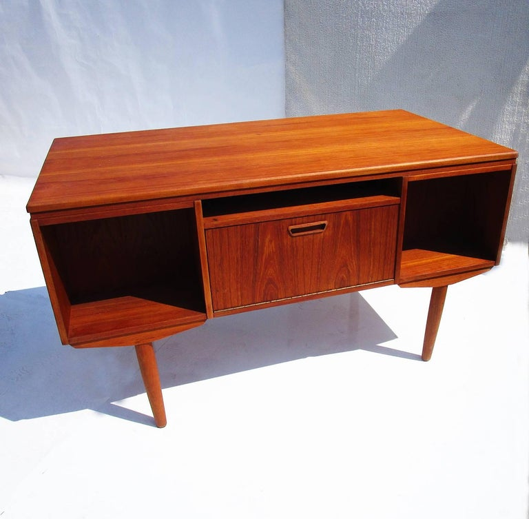 Danish Mid-Century Modern Teak Desk with Bookcase Front 2