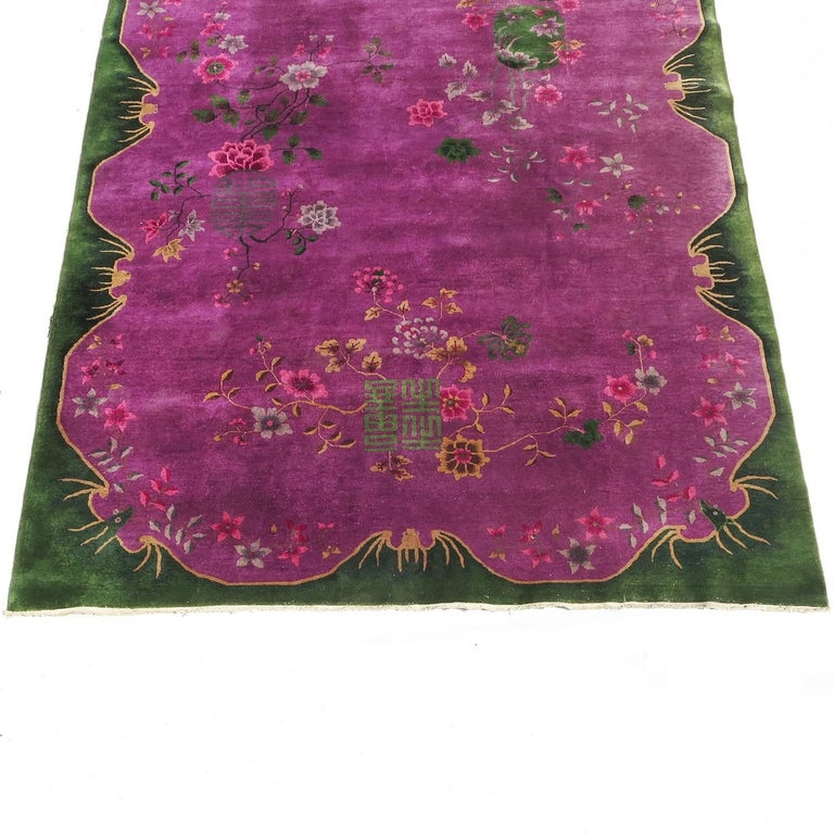 Art Deco Chinese Nichols 9 by 12 Rug with Winged Bat Motif 2