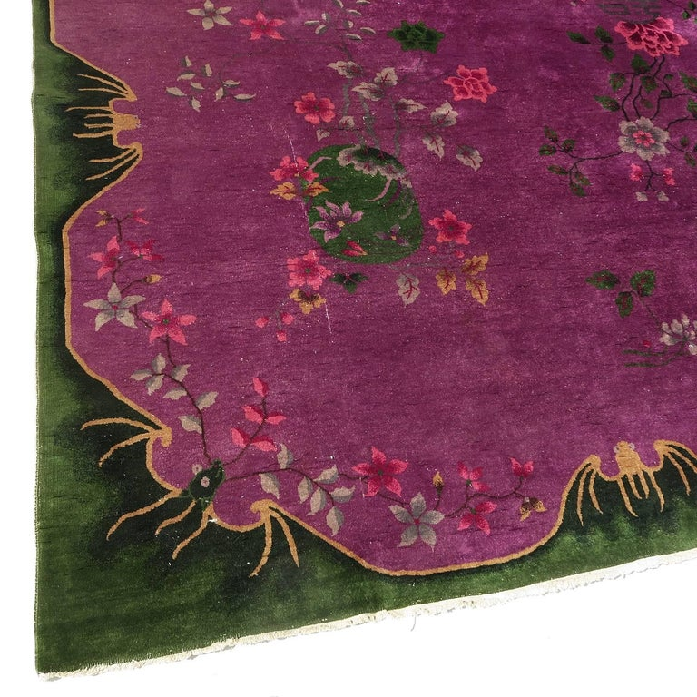 Art Deco Chinese Nichols 9 by 12 Rug with Winged Bat Motif 6