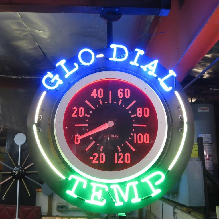 Rare Double Sided Hanging Neon Clock and Thermometer by Glo-Dial 2