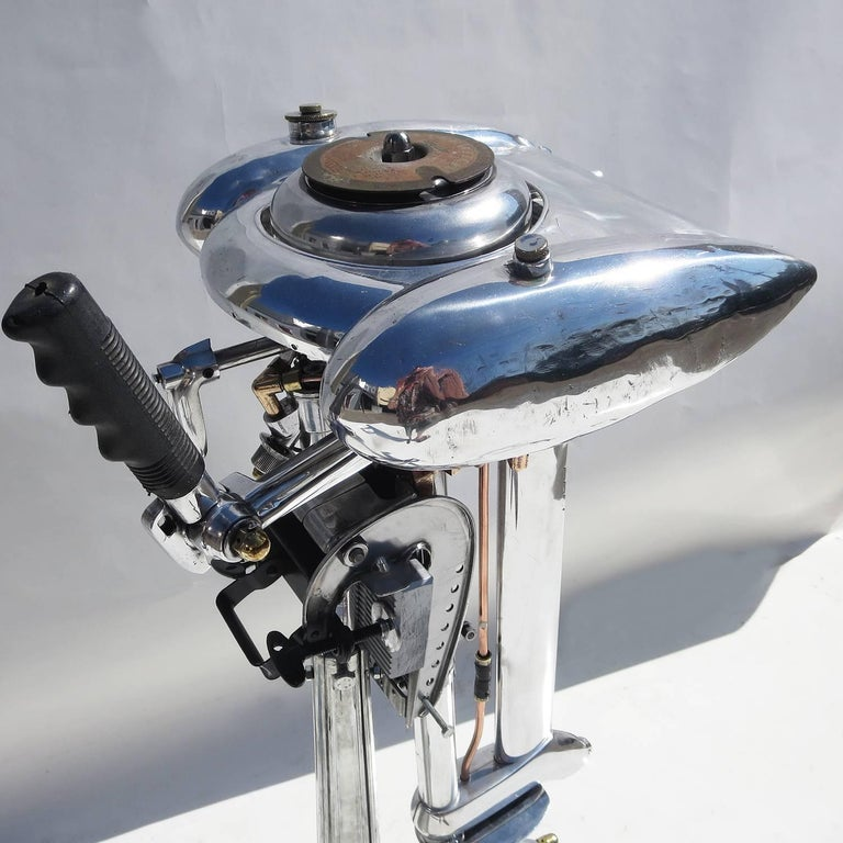American Waterwitch Art Deco Streamlined Outboard Motor in Polished Condition For Sale