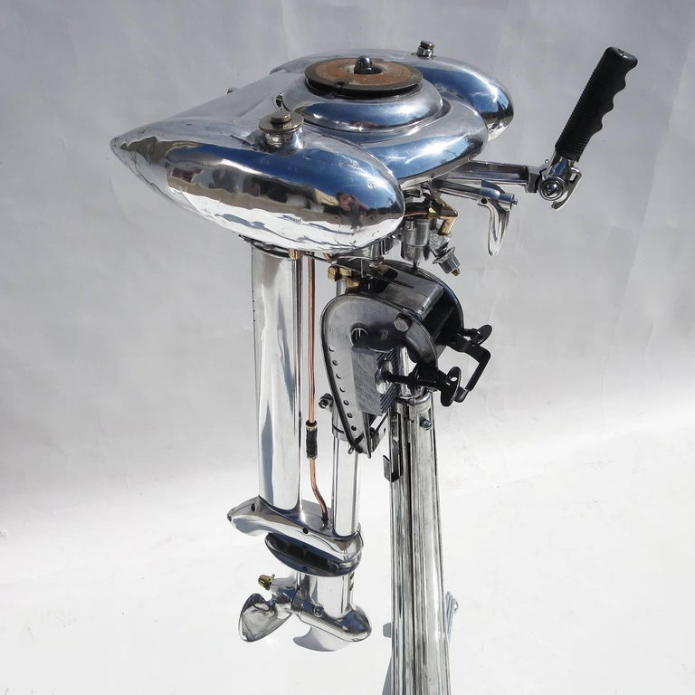 Waterwitch Art Deco Streamlined Outboard Motor in Polished Condition In Fair Condition For Sale In Los Angeles, CA