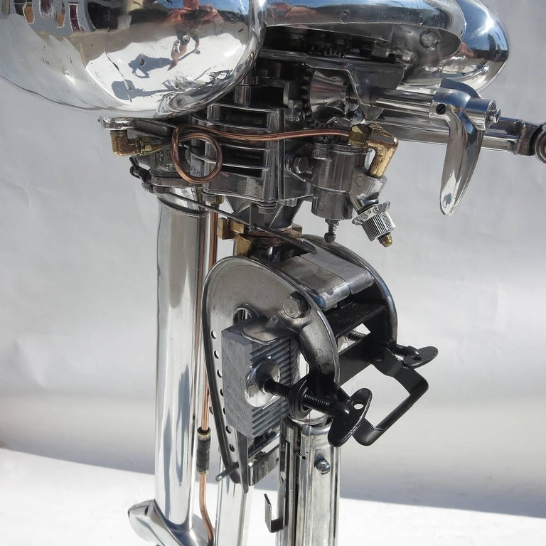 Mid-20th Century Waterwitch Art Deco Streamlined Outboard Motor in Polished Condition For Sale