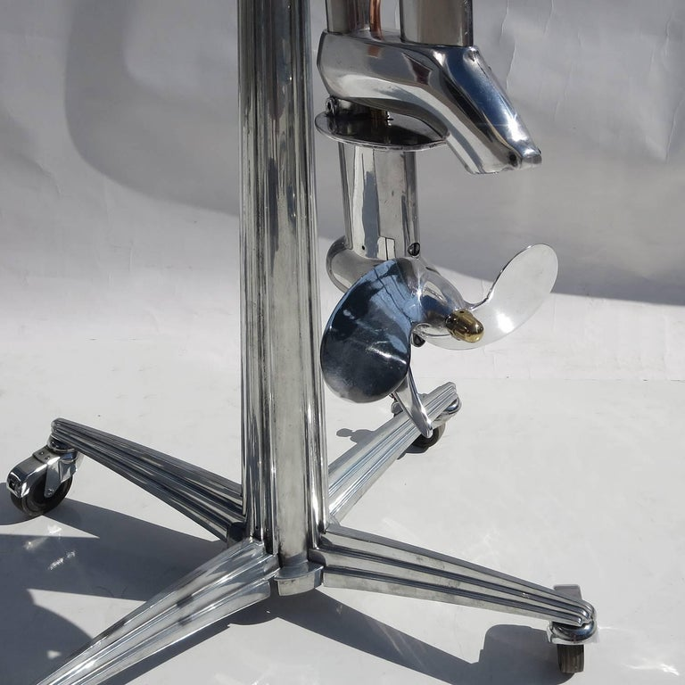 Waterwitch Art Deco Streamlined Outboard Motor in Polished Condition For Sale 1