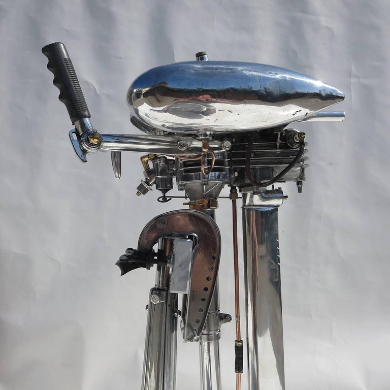 Waterwitch Art Deco Streamlined Outboard Motor in Polished Condition 9