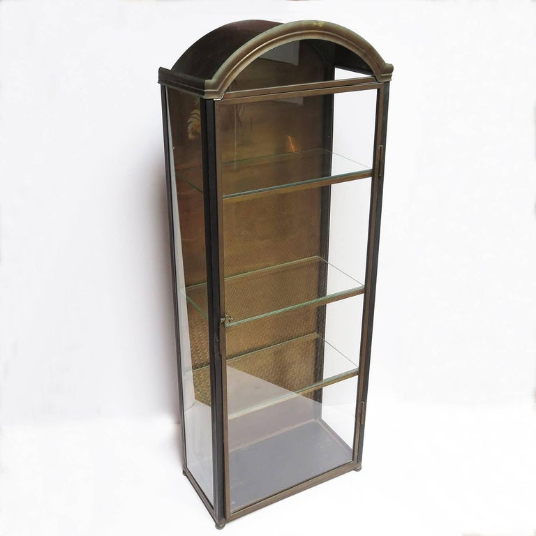 Italian Wall Mounted Display Cabinet in Painted Tin, Brass, and Glass 3