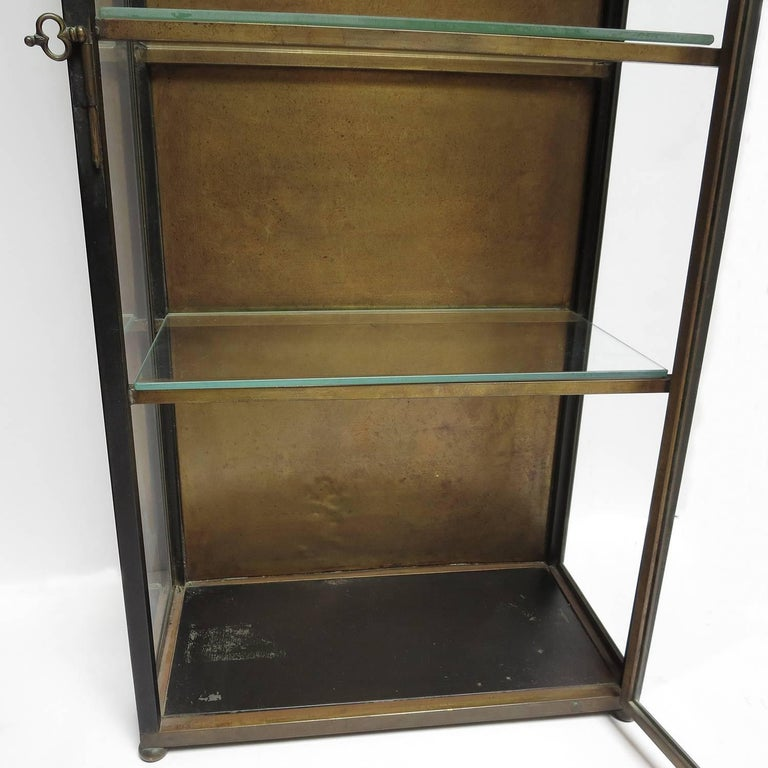 Italian Wall Mounted Display Cabinet in Painted Tin, Brass, and Glass 4