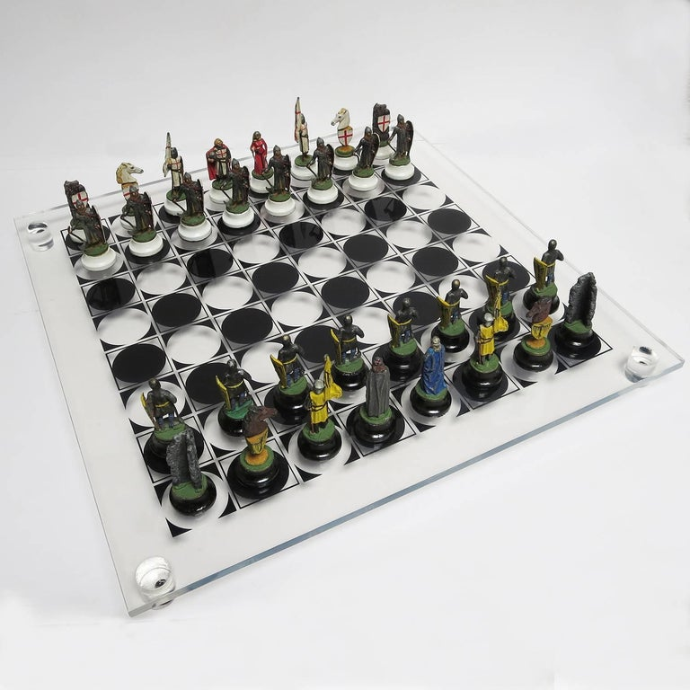 Chess Set with Painted Lead Medieval Figures on Lucite Board 2