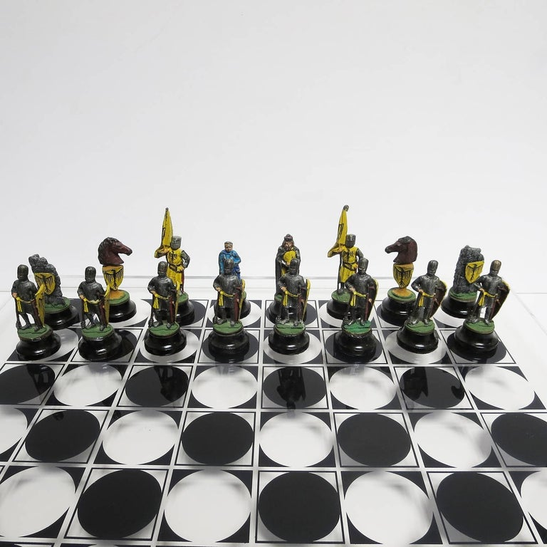 Chess Set with Painted Lead Medieval Figures on Lucite Board 3