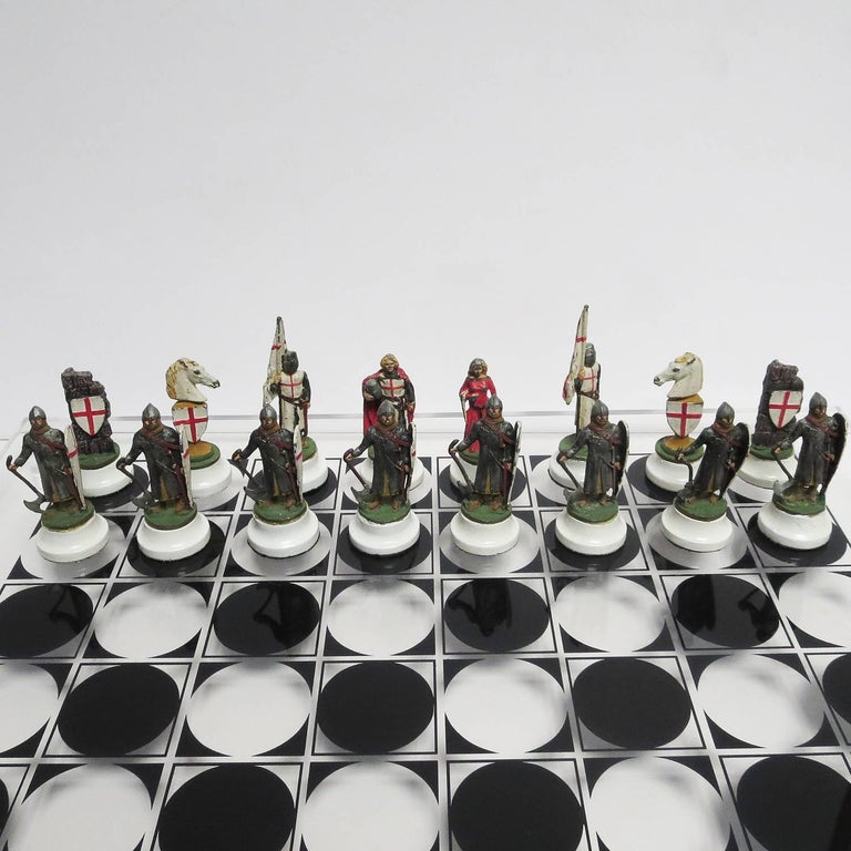 Chess Set with Painted Lead Medieval Figures on Lucite Board 4