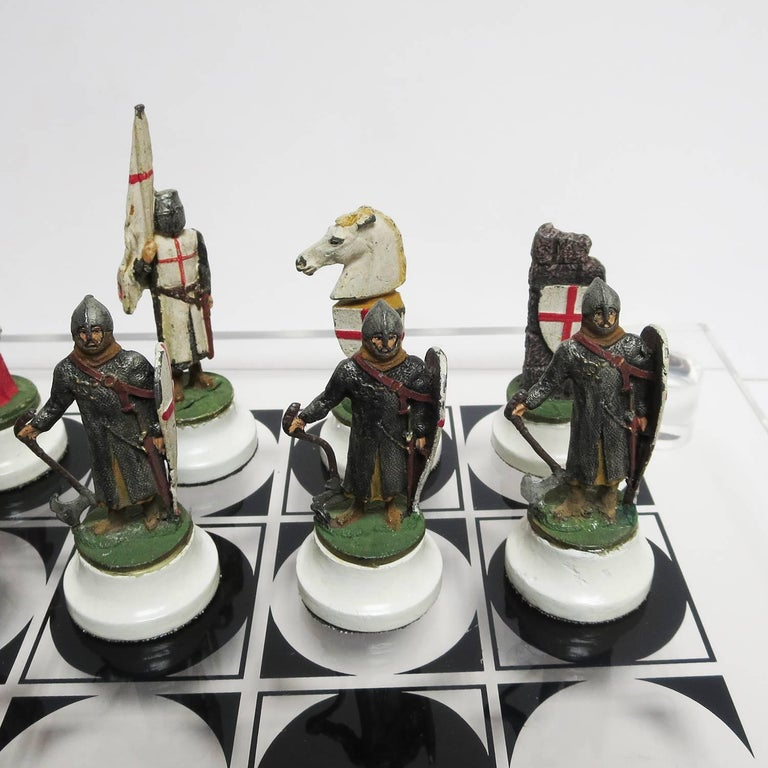 Chess Set with Painted Lead Medieval Figures on Lucite Board 6