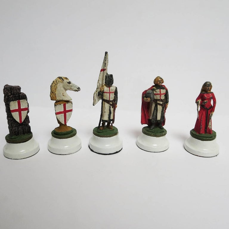 Chess Set with Painted Lead Medieval Figures on Lucite Board 7