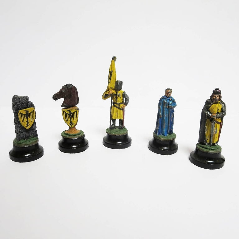 Chess Set with Painted Lead Medieval Figures on Lucite Board 8