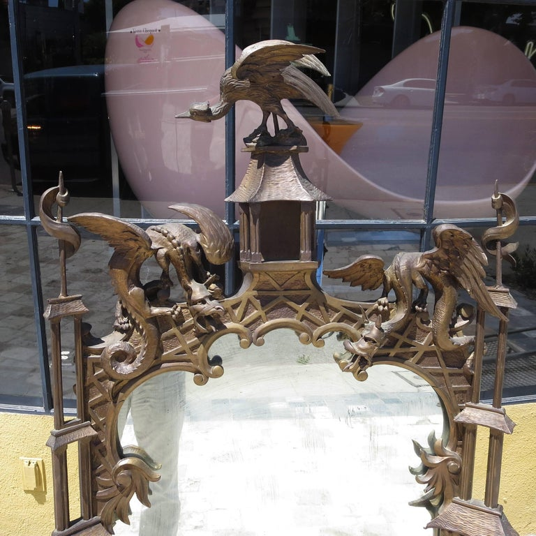 Finely Carved Chinoiserie Pagoda Wall Mirror with Dragons 2