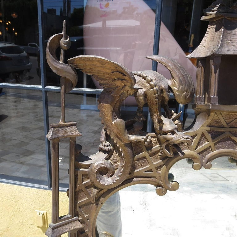 Finely Carved Chinoiserie Pagoda Wall Mirror with Dragons 4