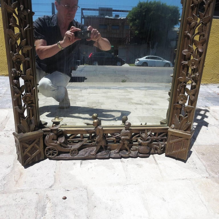 Finely Carved Chinoiserie Pagoda Wall Mirror with Dragons 6