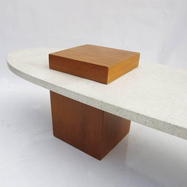 "Harvey Probber Style ""Surfboard"" Terrazzo and Walnut Coffee Table 2"