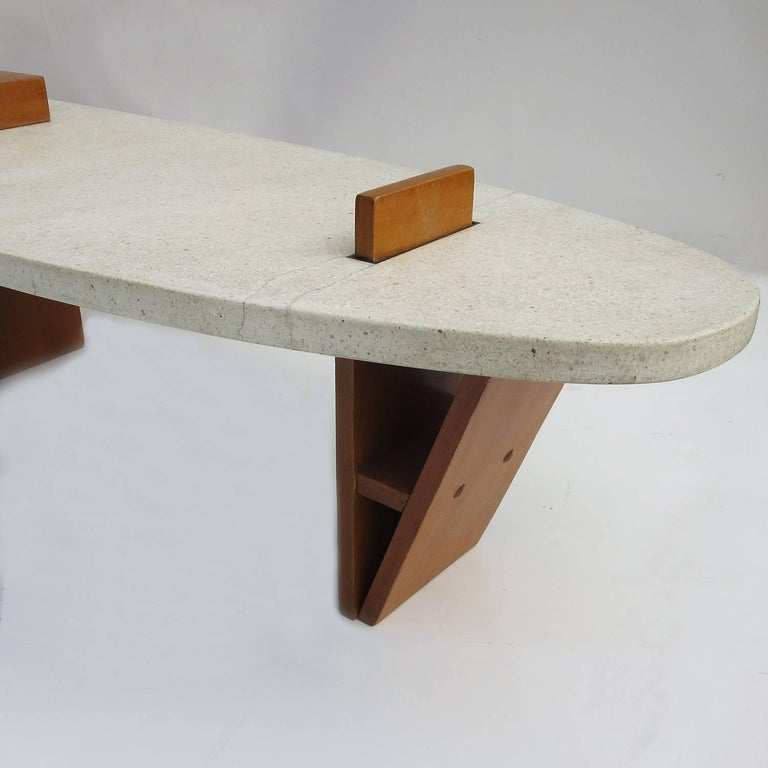 "Harvey Probber Style ""Surfboard"" Terrazzo and Walnut Coffee Table 3"