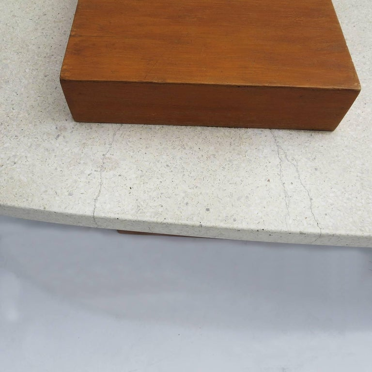 "Harvey Probber Style ""Surfboard"" Terrazzo and Walnut Coffee Table 4"