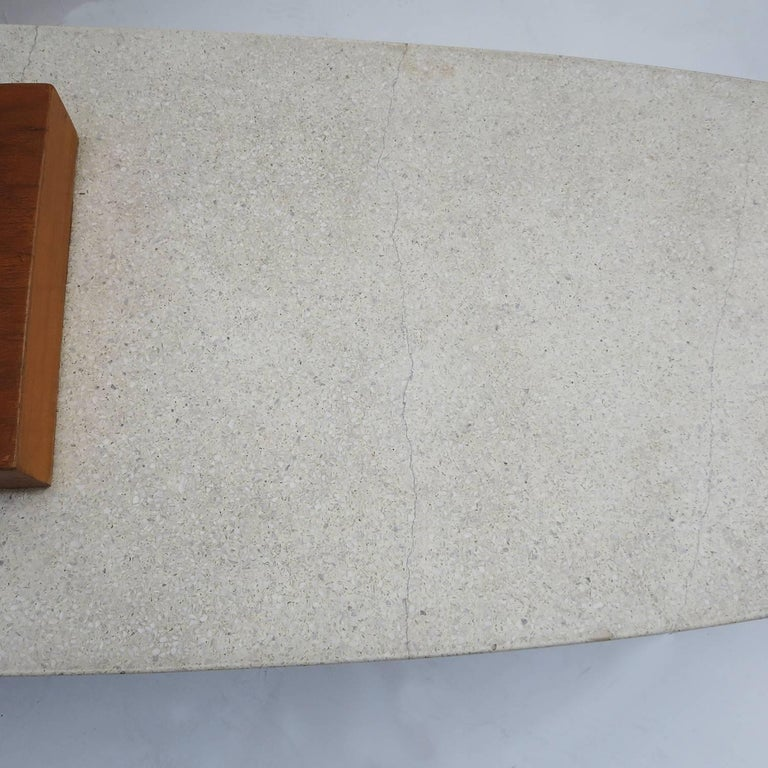 "Harvey Probber Style ""Surfboard"" Terrazzo and Walnut Coffee Table 5"
