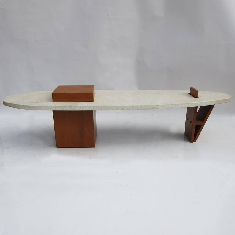 "Harvey Probber Style ""Surfboard"" Terrazzo and Walnut Coffee Table 7"