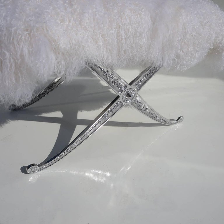 Hollywood Regency Style Bench in Polished Aluminum and Silky Fur 3