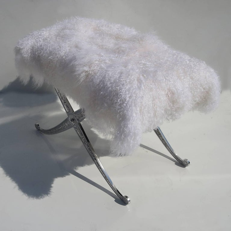 Hollywood Regency Style Bench in Polished Aluminum and Silky Fur 4